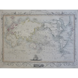 The World on Mercator's Projection - Original antique map by John Tallis, 1851