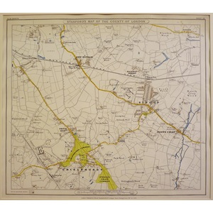Stanfords map of the county of london - sheet 20 - chislehurst, sidcup, foots cray, new eltham
