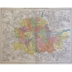 County of London Showing Metropolitan Boroughs - Original Map. Chromolithograph. Published By Bar...