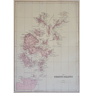 The Orkney Islands - Original antique map. Published by G.W. Bacon, 1881 for the