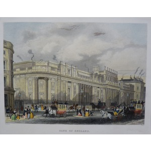 The Bank of England. Original Antique Steel Engraving. Handcoloured. Published For Mighty London,...