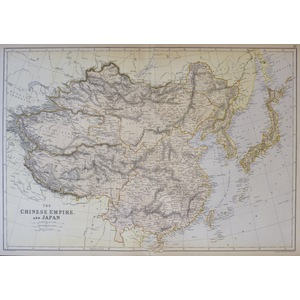 The Chinese Empire and Japan - Original antique map by Edward Weller. Colour lithograph published...