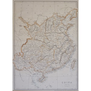 China - Original Antique Map. Lithograph With Hand Colouring. Published By Cassell, 1863