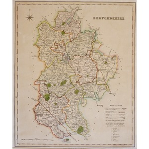 Bedfordshire - Original antique map by H. Teesdale, 1834