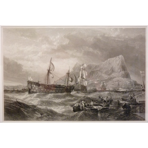H M S Victory Being Towed into Gibraltar By H M S Neptune After The Battle Of Trafalgar, Original...