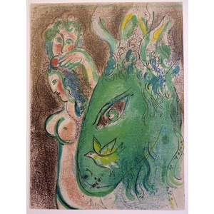 Chagall, Marc - Paradis The Green Donkey. Bible Series Original Lithograph Published by Mourlot i...