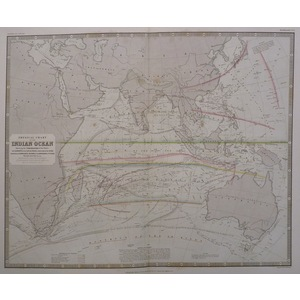 Physical chart of the indian ocean - johnston, 1843