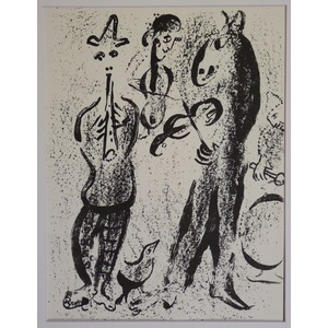 Marc Chagall, Itinerant Players, Original lithograph. Published 1963.