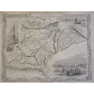 Cabool, the Punjab and Beloochistan -  Tallis, 1851. Original Antique Steel Engraved Map. With Or...