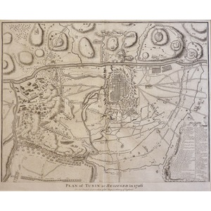 Plan of Turin as Bedieged in 1706 - Original antique copper engraved map For Mr Tindal's Continua...