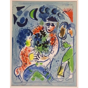 Marc Chagall, Floral tribute.  Original colour plate lithograph, published 1960.