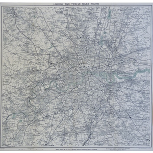 London and Twelve Miles Round -  Original antique map published by Ward and Lock & Co. Ltd