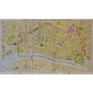 Large Scale Plan Of The City Of London. An original map published in 1947.