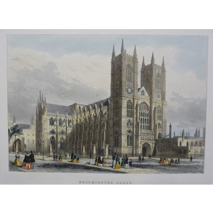 Westminster Abbey. Original Antique Engraving Published in 1858 for Mighty London