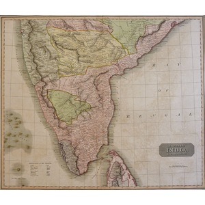 British India, Southern Part - Original antique map  Copper engraved with original hand colouring...