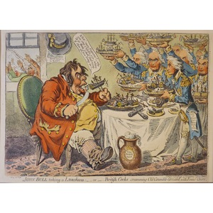John Bull taking a Luncheon. Original copper engraving by James Gillray, 1851.