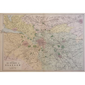 Glasgow, The Environs of - Original antique map. Published by G.W. Bacon, 1881 for the