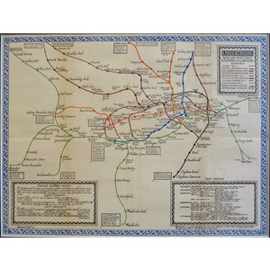 Underground Map of Electric Railways of London - Gill, 1920