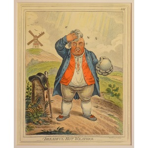 Dreadful-hot weather. Original copper engraving by James Gillray, 1851