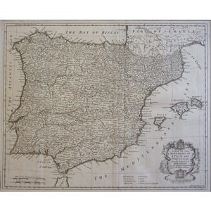 A Map of the Kingdoms of Spain and Portugal - Rapin, 1751