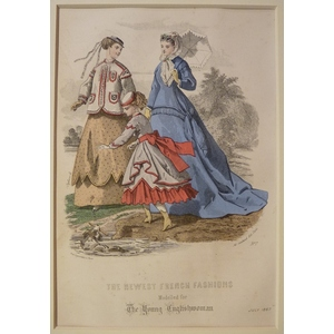 The newest french fashions - plate 7, july 1867