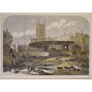 London improvements: portion of the site of st. Thomass hospital, and charing cross railway works...