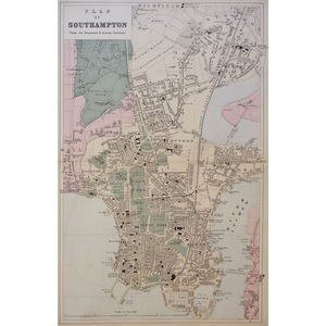 Southampton, Plan of - Original antique map. Published by G.W. Bacon, 1881 for the