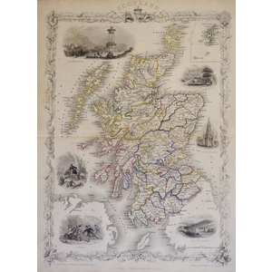 Scotland - Original antique steel engraved map.  With original hand-colour.  Published by John Ta...
