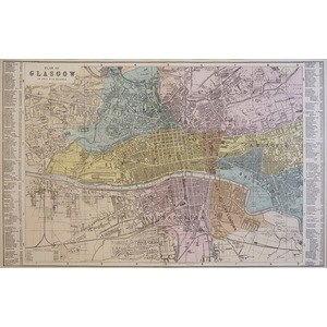 Glasgow, Plan of - Original antique map. Published by G.W. Bacon, 1881 for the