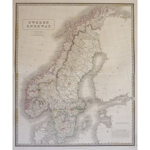 Johnston, A. K. - Map of Sweden and Norway. Original antique steel-plate engraving with original ...