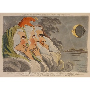 Wierd sisters; ministers of darkness; minions of the moon. Original copper engraving by James Gil...