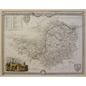 Moule - Thomas. (1785 – 1854 ) Somersetshire. Original antique map published for Barclays Complet...