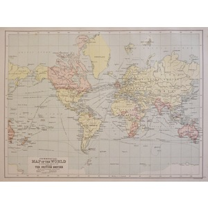 Commercial Map of the World on Mercator's Projection - Original antique map, 1906