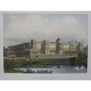 Buckingham Palace From The Private Grounds. Original Antique Engraving. Handcoloured. Published F...