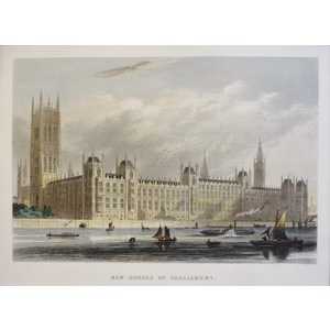 New Houses of Parliament - Original steel-plate engraving   Published by T.H. Shepherd, 1858  Han...