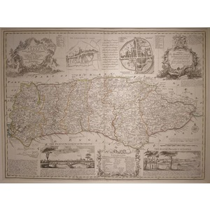 An accurate map of the county of sussex - bowen, 1780