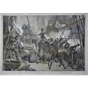 Lord howard of effingham on board the ark royal, engaging the ship of don alonzo da leyva