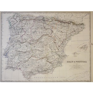 Spain and Portugal - Original antique map by Keith Johnston F.R.S.E.  Published by W. & A. K. Joh...
