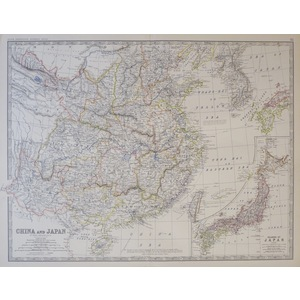 China and Japan - Original antique steel-plate engraved map  With original colour  Drawn & engrav...