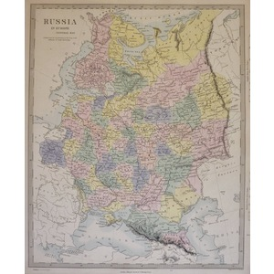 Russia in Europe - Original antique map. Engraved by J and C Walker. Published by Edward Stanford...