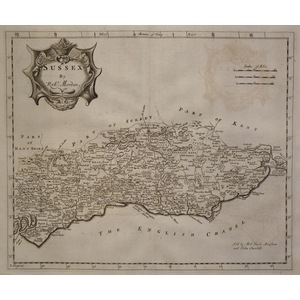 Morden ; Robert (1650 – 1703). Sussex . Original antique map. Published 1772. Third edition.  Is ...