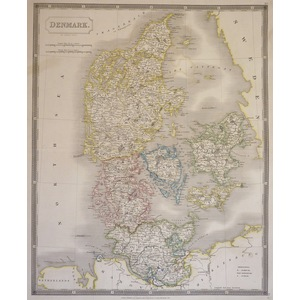 Denmark - Original antique map by Sydney Hall.  Steel-plate engraved with original hand-colouring...