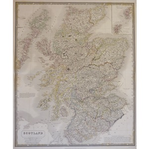 Scotland - Original antique steel-plate engraving with original colour  Drawn & engraved by A.K. ...