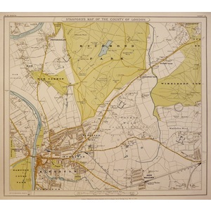 Stanfords Map Of The County Of London - SHEET 16 - Richmond Park, Ham Common, Wimbledon Common, K...