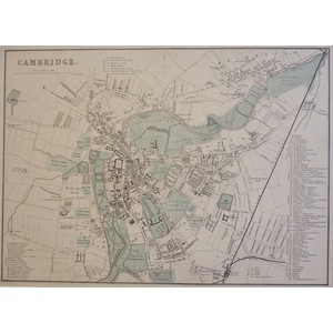 Cambridge - Original antique map. Published by G.W. Bacon, 1881 for the