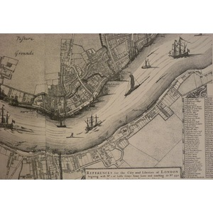 Sectional map of 17th century london from the tower to shadwell