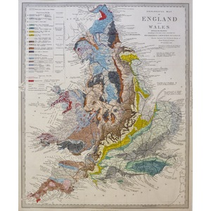 Geological Map of England and Wales - Original hand coloured antique map. Engraved by J and C Wal...