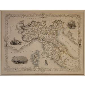 Northern italy - J.  Tallis, 1851. Original Antique Steel Engraved Map. With Original Hand-Colour...