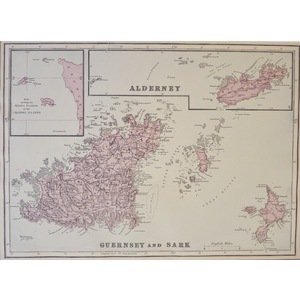 Guernsey & Sark with Alderney - Original antique map. Published by G.W. Bacon, 1881 for the