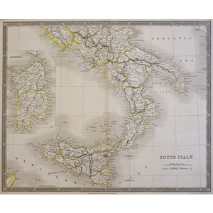 South Italy - Original antique map Steel-plate engraved.  Published by Henry Teesdale, London, 18...
